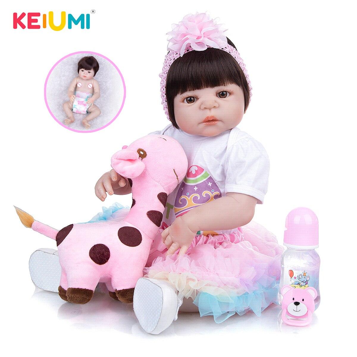 KEIUMI New Arrival Toy Reborn Baby Dolls Full Silicone Vinyl Body Lifelike 23 Inch Babies Dolls Girl Birthday Gift For Sale